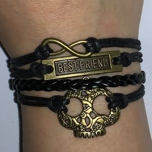 Jewelry - Black Stacked Best Friend Charm Bracelet